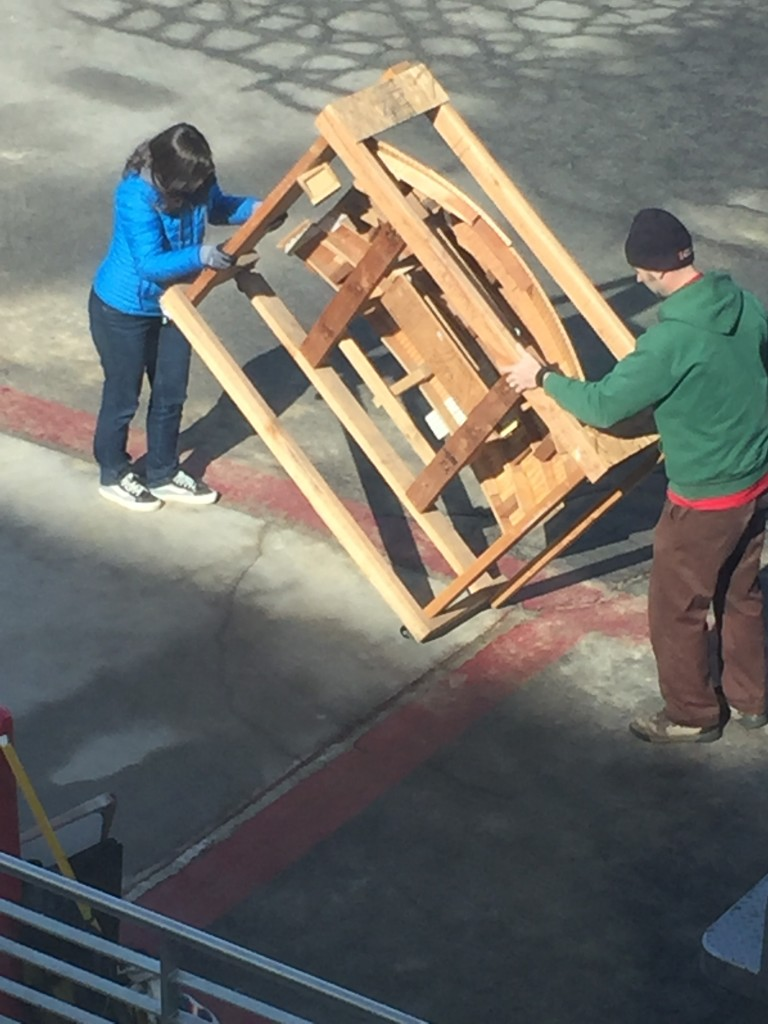 Unloading art from the truck in Carson City