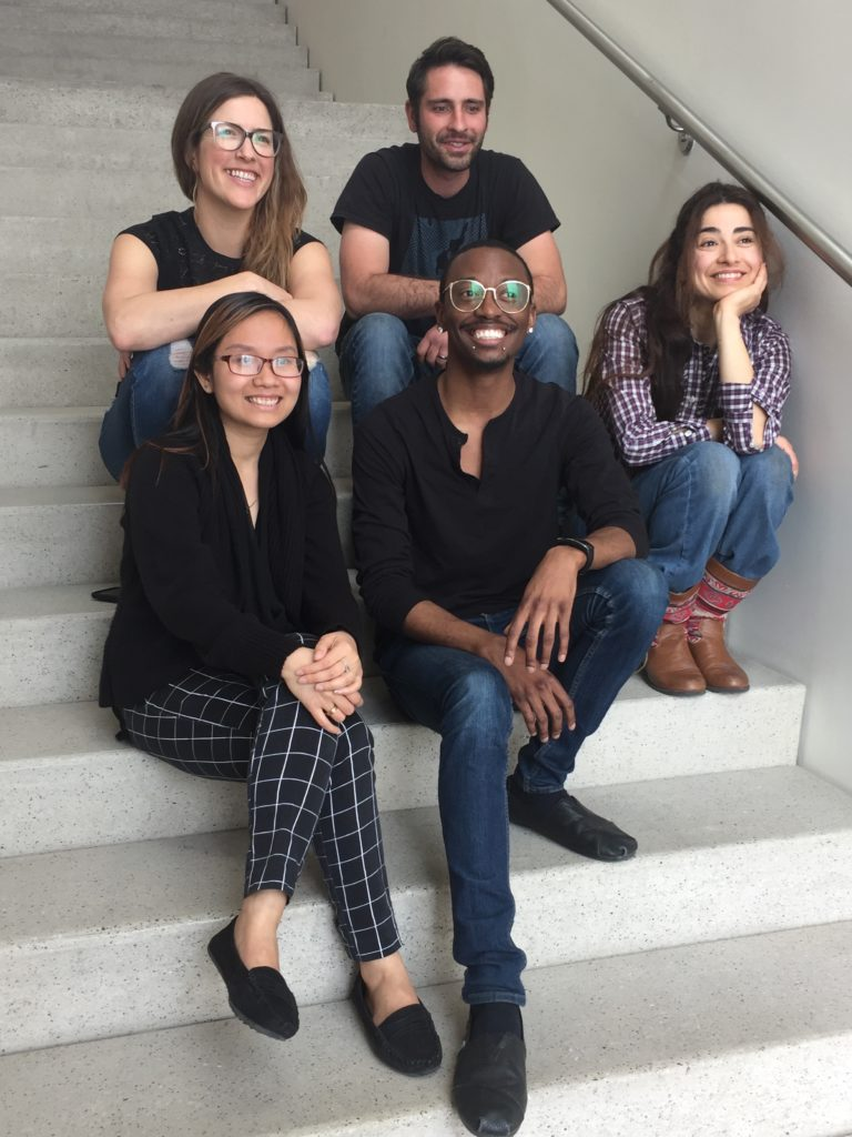 Group photo of the New Crop 2016 artists in the gallery back row: [l-r] Tom Drakulich, DePaul Vera, Kelly Wallis; front row [l-r] Quynh Tran, Mahsan Ghazianzad, 4/18/16