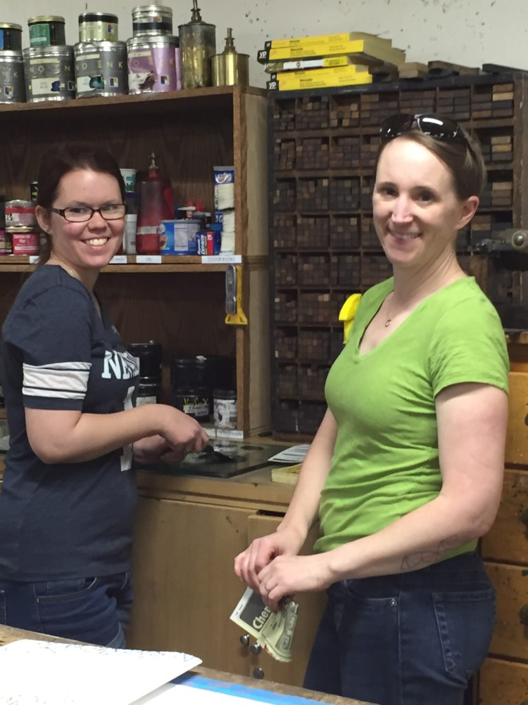 UNR student Michelle Duggan with faculty Amy Thompson at Black Rock Press, 5/31/16