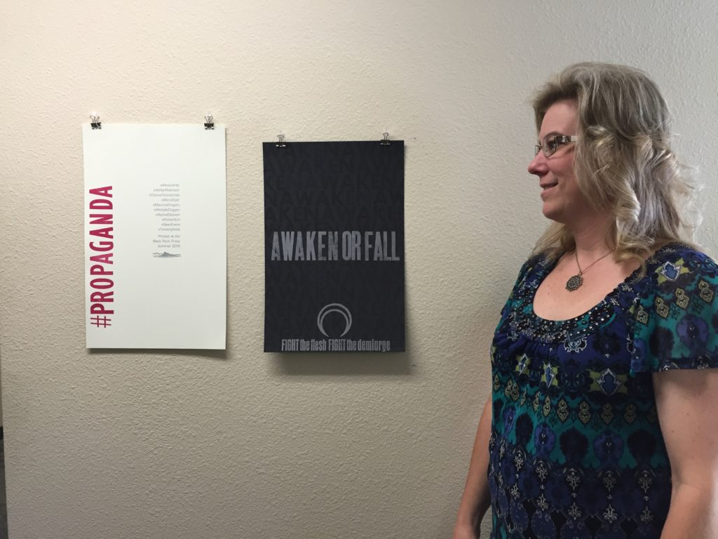 """Carson City employee Lena Reseck visiting the """"Print Project"""" exhibit, 7/20/16"""