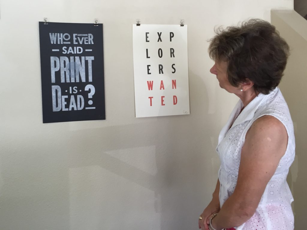 """City employee and CCAI member, Eva Chwalisz, at the """"Print Project"""" exhibit, 7/20/16"""