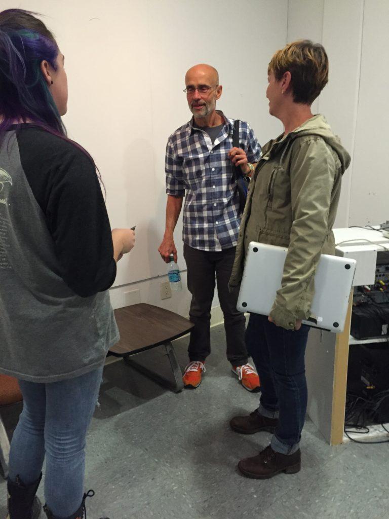 [l-r] SNC student Collyn Aubrey, Tom di Maria, SNC Art Professor Mary Kenny visit after Tom's talk, 9/13/16