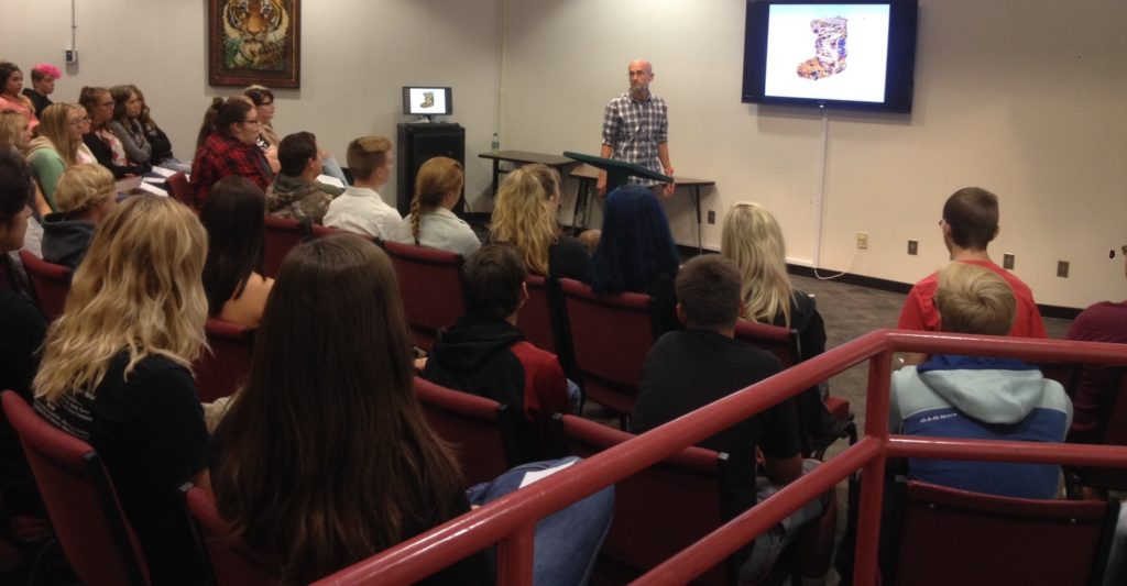 Tom di Maria giving his Nevada Neighbors talk to Douglas High students, 9/14/16